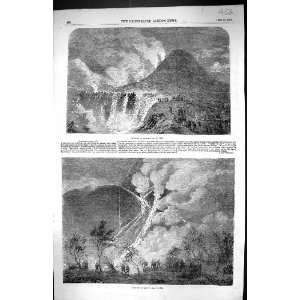 1855 Eruption Mount Vesuvius Volcano Mountains Italy Antique Print