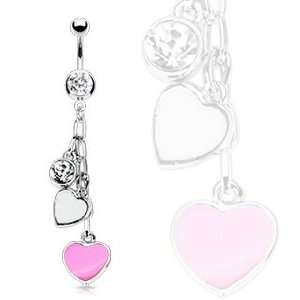 316L Surgical Steel Fancy Belly Ring with Pink and White Epoxy Hearts