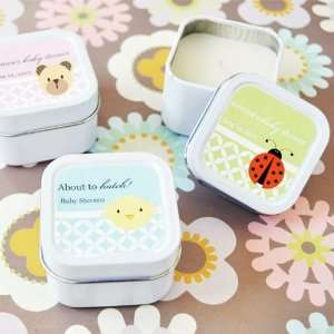 Square Personalized Baby Shower Candle Favor