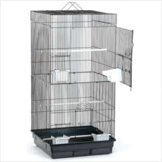 Blue Ribbon Pet Extra Tall Square Roof Bird Cage in Black / Smoke