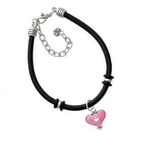 Hot Pink Enamel Heart with Cutout Silver Plated Black Rubber Charm