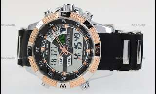 Gold Black Men Analog Digital LCD Sport Date Day Alarm Chronograph