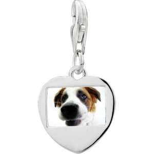 Sterling Silver Cute Beagle Photo Heart Frame Charm Pugster Jewelry