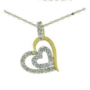 Solid Yellow Gold Diamond Heart Penant+chain  Jewelry