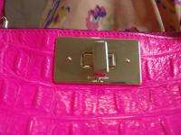 AUTHENTIC KATE SPADE KELSEY CROC HOT PINK 14K GOLD Tote Bag HandBag