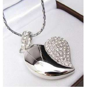 Crystal Asymmetric Heart Shape Jewelry USB Flash Drive
