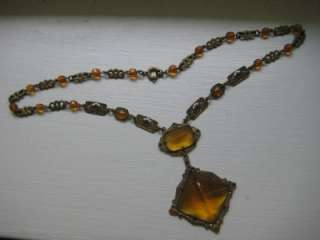 Unique Antique Art Deco Orange Glass Filigree Necklace