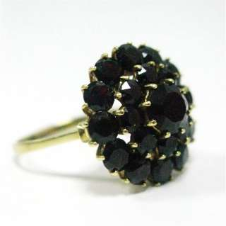 Vintage Gem Cluster Dark Black/Red Garnet HUGE Ring 14k