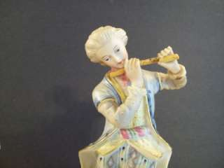 ANTIQUE GERMAN BISQUE PORCELAIN FIGURINE COUPLE MAN PLAYING FLUTE