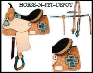 WESTERN BARREL RACER BLUE ZEBRA CROSS TRAIL SHOW HORSE SADDLE 4PC