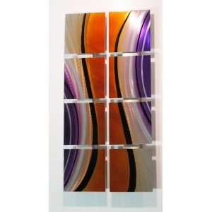 Orange Flow Modern Abstract Metal Wall Art Painting Sculpture Decor