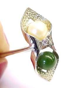 6mm Genuine Pearl & Green Jade Sterling Silver Fashion Wrap Ring Size