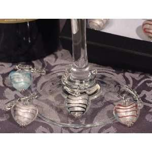Murano art deco collection solid hearts glass wine