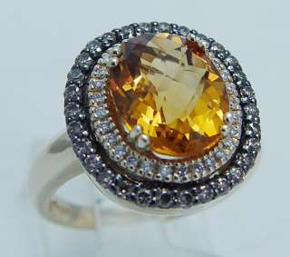 LeVian 14K Yellow Gold Citrine Diamond Ring Designer Signed Jewelry Le