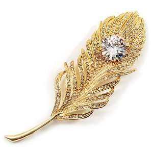 Large Swarovski Crystal Peacock Feather Gold Tone Brooch