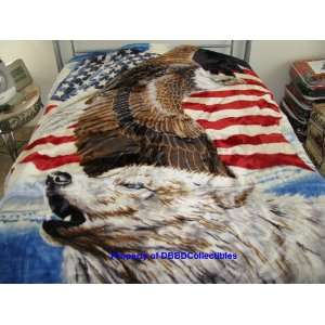 Korean Style Queen Blanket Eagle Flag Wolf