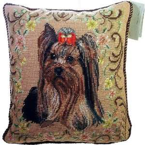 Yorkshire Terrier Yorkie Dog Needlepoint Pillow   14