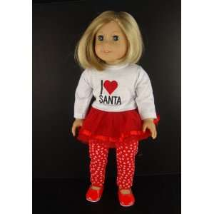 Love Santa Christmas Shirt and Tulle Skirt with Attached Leggings