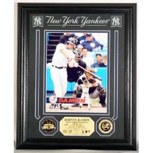 New York Yankees JOHNNY DAMON Archival Etched Glass PHOTOMINT & 24KT