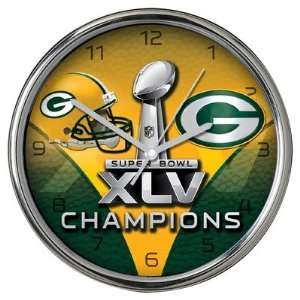 Green Bay Packers Super Bowl Champions Clock in Chrome