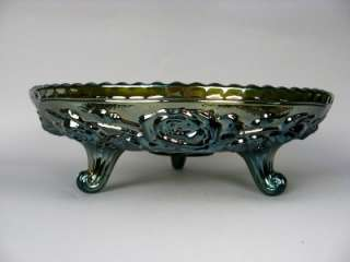 LUSTRE ROSE ~ IMPERIAL HELIOS GREEN CARNIVAL GLASS CENTERPIECE BOWL