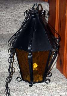 Vtg BLACK Wrought Iron Hanging Swag LAMP LANTERN LIGHT Amber Glass
