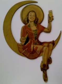 Die Cut Cardboard Adv Sign Miller High Life Beer Woman Seated on Moon