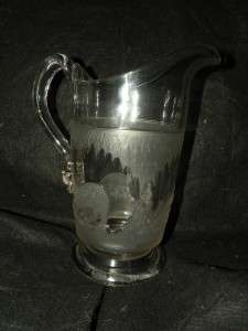 ANTIQUE EAPG VERY RARE POLAR BEAR 9 7/8 WATER PITCHER FROSTED PATTERN