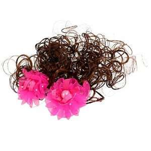 Girls Shocking Pink Flower Decor Brown Curly Wig Hair
