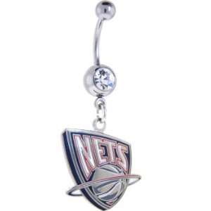 NBA New Jersey Nets Crystalline Gem Belly Ring Jewelry