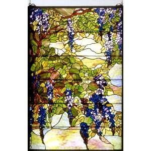 Tiffany Wisteria & Snowball Art Glass Window