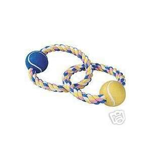 Pastel Rope Dog Toy 14 Inch with 2 Tennis Balls