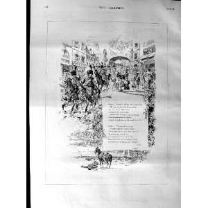 1887 Soldiers Marching Street Music Poem Old Print