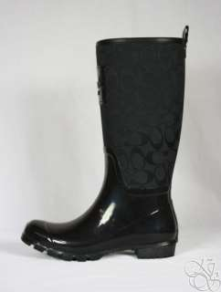 Signature Black Shiny Rubber Rainboots Rain Boots A7314 size 10