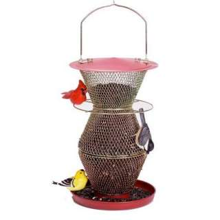 NO NO BIRD FEEDER NO NO 3 TIER CARDINAL RED & BRASS