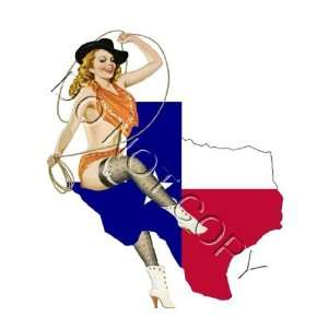 Texas State Flag Cowgirl Pinup Girl decal s52 Musical