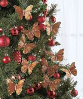 Set of 10 Red Butterfly Clip Christmas Tree Ornaments