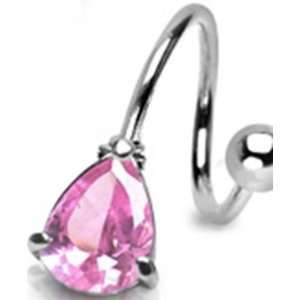 Surgical Steel Belly Button Navel Ring Twist with Pink Cz
