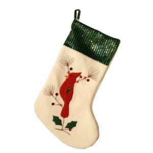 Good Tidings 8782430G Green Cardinal Christmas Stocking 19 Inches with