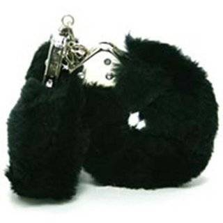 Novelties Faux Fur Covered Metal Handcuffs with Keys and Blindfold