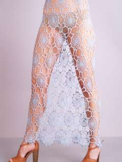 CROCHET Scallop Lace Sheer Cutout PLUNGE Wedding Festival Maxi DRESS