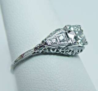 Antique 18K White Gold .90ct Diamond Engagement Ring Estate Jewelry