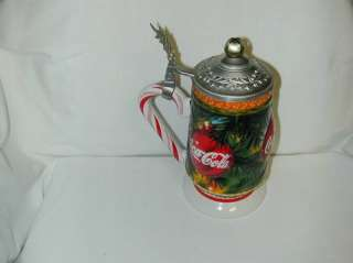 COCA  COLA HOLIDAY CANDY CANE STEIN NEW RETIRED