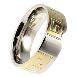 Stainless Steel & Gold Plate Greek Key Ring   13 TrendToGo Jewelry