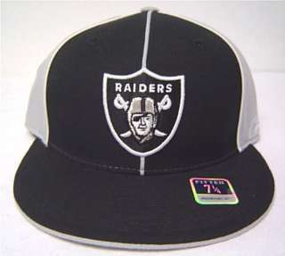 NFL Oakland Raiders Flatbill Fitted Cap Black Gray Hat