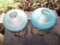 ANTIQUE AUTHENTIC ART DECO CZECHOSLOVAKIA GLASS BEADED LAMP SHADES