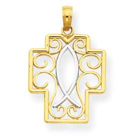 New 14k Two Tone Gold Filigree Cross W/ Ichthus Pendant
