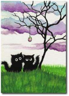 Two Black Cats Easter Egg Tree  ArT BiHrLe LE Print ACEO