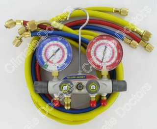Yellow Jacket 49977 TITAN 4 V Manifold Gauges W/Hoses