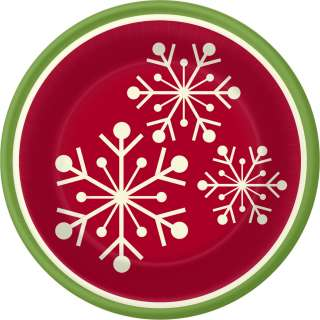 Christmas BANQUET PLATES Holiday Dinner Snowflake Red White & Green